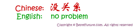"Mandarin Chinese for ""No Problem"""