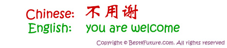 "Mandarin Chinese for ""You are Welcome"""